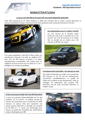 Newsletter Numéro 1 – ABT Sportsline France