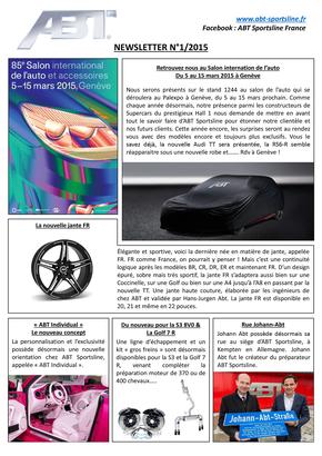 Newsletter Numéro 1/2015 – ABT Sportsline France