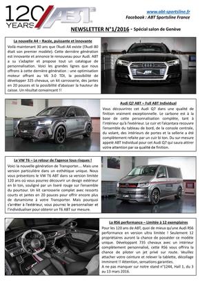 Newsletter Numéro 1/2016 – Spécial salon de Genève – ABT Sportsline France