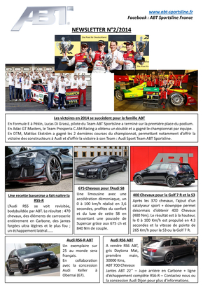 Newsletter Numéro 2/2015 – ABT Sportsline France