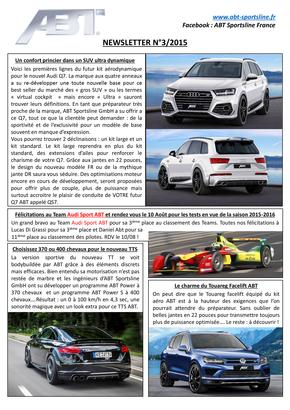 Newsletter Numéro 3/2015 – ABT Sportsline France