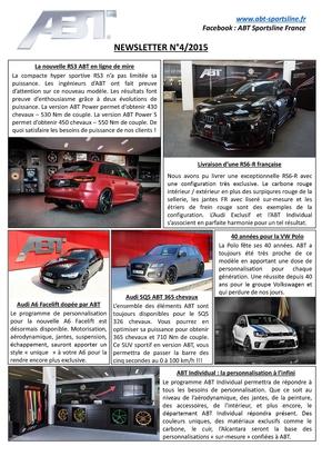 Newsletter Numéro 4/2015 – ABT Sportsline France